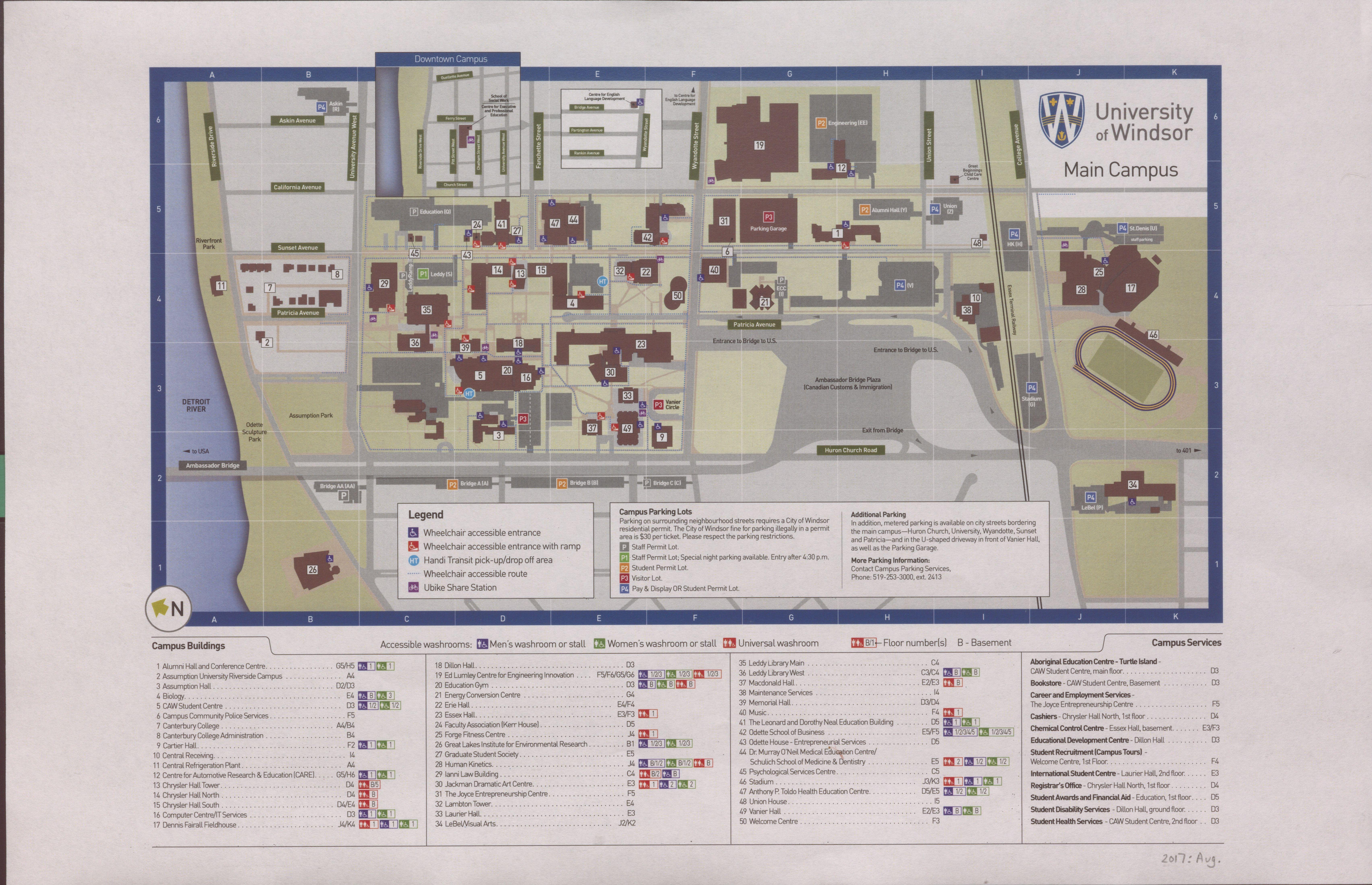 university of windsor campus map University Of Windsor Campus Map 2017 Southwestern Ontario