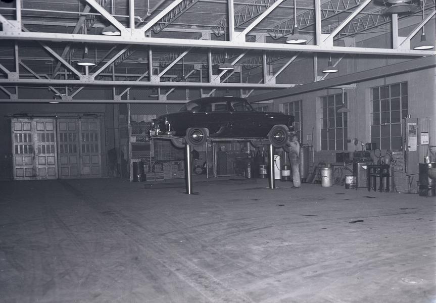 garage interior. Windsor Police Traffic Division Buildings. Garage. Interior 1, December 1954 Garage